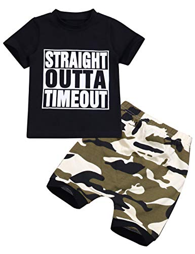 Toddler Baby Boy Clothes Funny Letter Black Sleeveless Top and Camouflage Short Pants Summer Outfits Set(6-12 Months)
