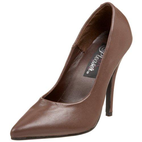 Para 420 Leather De Zapatos Pleaser Mujer brown Marrón Tacón Seduce Xq5zH