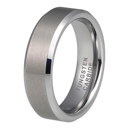 iTungsten 6mm 8mm Tungsten Rings for Men Women Wedding Bands Matte Finish Beveled Edges Comfort ()