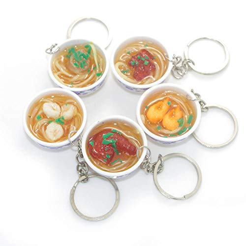 Goodangie00 5Pcs Artificial Lifelike PVC Flower Bowl Noodles Cellphone Bag Strap Pendant Key Chain Boys Girls Toy Gift