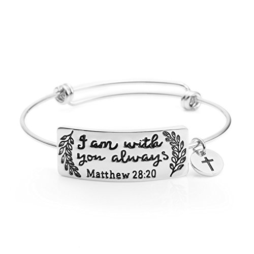 (Yiyangjewelry Christian Bracelet for Girls Expandable Wire Bible Verse Bangle Silver Color Rhodium Plated Inspirational Engraved I Am with You Always(Silver))