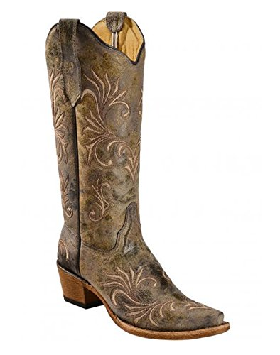 New Circle G By Corral Women's L5133 Filigree Snip Toe Western Boot Green/Chocolate/Beige 9