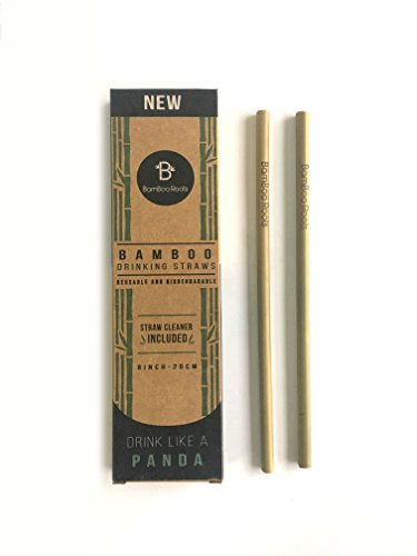 Pack of 12 Reusable and Biodegradable Bamboo Drinking Straws by BamBoo Roots - Plastic Drinking Straw Alternative - 100% Organic, BPA Free, Non-Toxic, and No Inks or Dyes - Straw ()