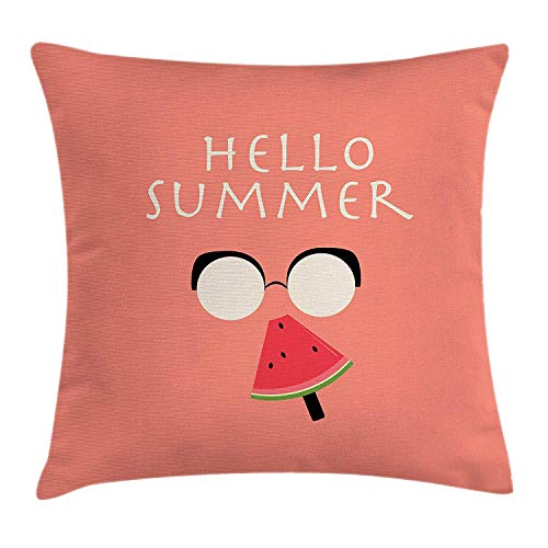 MHKLTA Hello Summer Throw Pillow Cushion Cover, Vintage Illustration of a Faceless Man with Glasses Eating Watermelon Popsicle, Decorative Square Accent Pillow Case, 18 X 18 inches, Multicolor