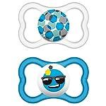 """MAM 217111 – Ciuccio """"Air"""" in lattice per maschietti dai 16 mesi in su, confezione doppia, Colori/ modelli assortiti – Istruzioni in lingua straniera Accessori 217111 Ciuccio """"Air"""" in lattice 2"""