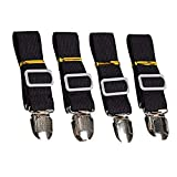 Budalga Bed Sheet Fasteners Adjustable Heavy Duty Band Straps Suspenders Holder Grippers for Mattress Pad Cover, Sofa Cushion, Black 4Pack