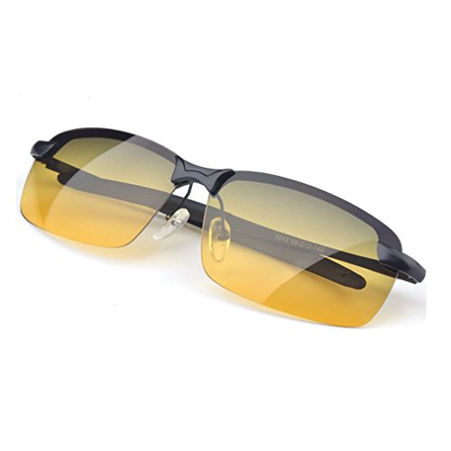 LOMOL Mens Fashion Rectangular Metal Frame Polarized Day and Night Amphibious Driving - Prices Sunglasses Www.ray-ban
