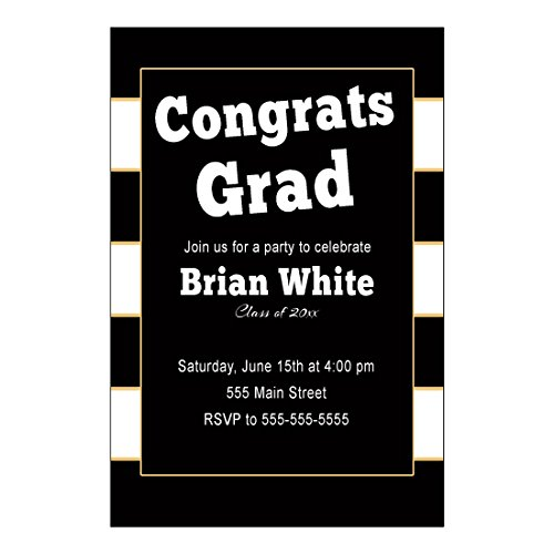 30 Invitations Graduation Party Black Gold Stripes Personalized Cards Photo Paper