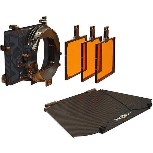 (Bright Tangerine Viv 3-Stage Core Matte Box Kit 2, Includes 2 Rotating 4x5.65 Filter Stages, Fixed 4x5.65 Filter Stage, 3X Filter Trays, Carbon Fiber Top Flag, Flag Mounts)