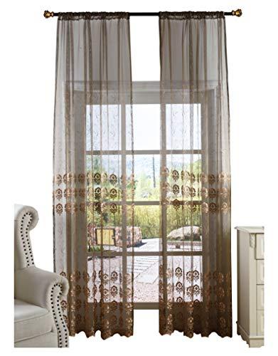 Smibra European Style Sheer Curtain Flower Printed Window Drapery Rod Pocket Breathable Drape Treatment for Bedroom,Living Room(1 Panel,W50 x L84inch, Brown)-1280779SC1ZDBNX25084-8512 Drapes Stripes Silk Drapery
