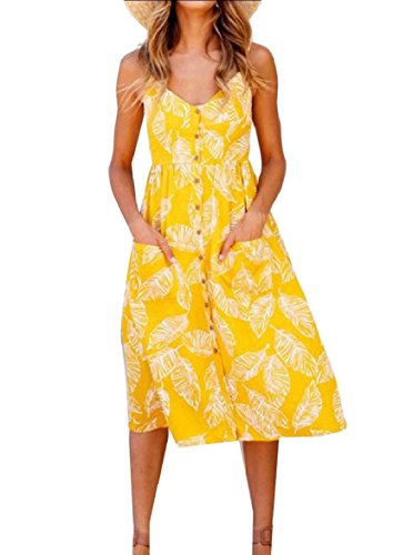 Coolred Sun Size Sexy 9 Women Beachwear Dress Buttoned Plus Sling Patterned rqrwS8P
