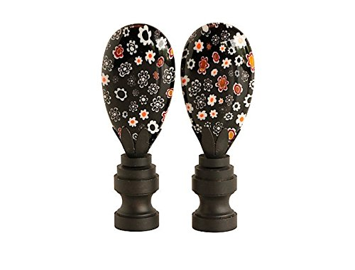 - Black Millefiori Glass Lamp Finials, A Matching Pair