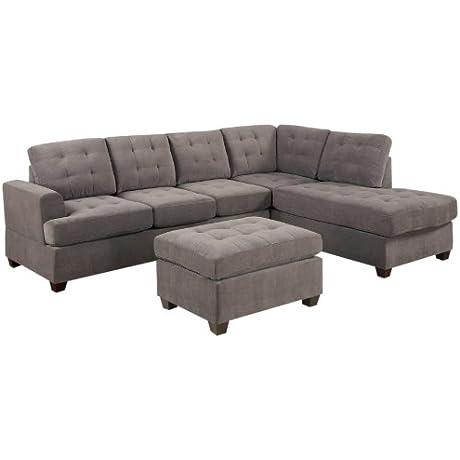 Bobkona Austin 3 Piece Reversible Sectional With Ottoman Sofa Set Charcoal