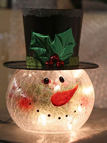 Lighted Crackle Glass Snowman - 8 Inch Electric
