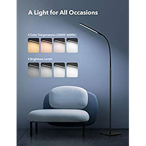 TaoTronics LED Floor Lamp, Modern Standing Light 4 Brightness Levels
