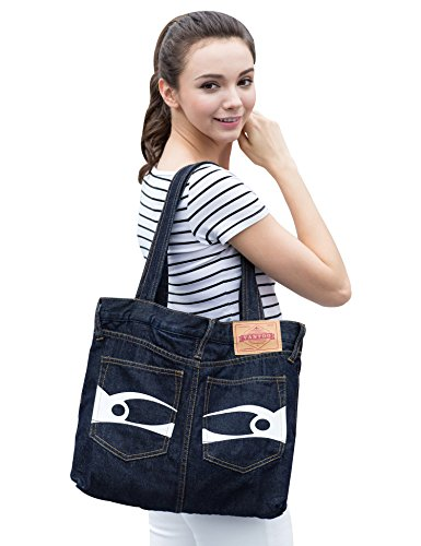 Vantoo Unisex Fashionable Funny Denim Shoulder Bag with Pockets,Navy Blue
