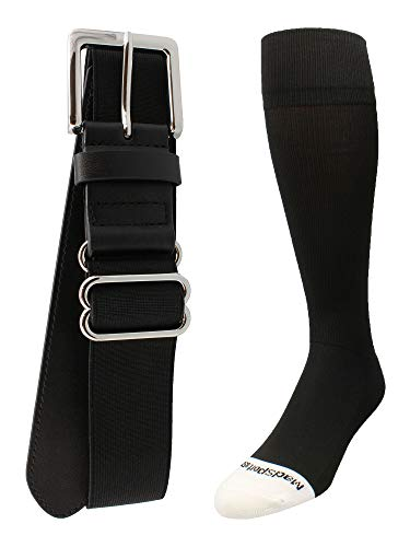 MadSportsStuff Pro Line Baseball Socks and Belt Combo (Black, Medium)