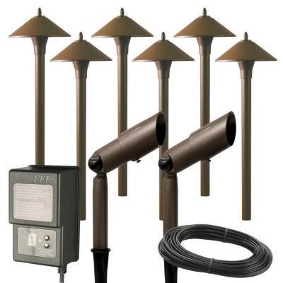 Low Voltage Aged Brass Halogen 6 Path Light and 2 Spot Light Kit