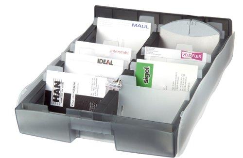 HAN 2016-693, Visitenkartenbox VIP XXL, für 2200 Visitenkarten, Hochwertige Ausführung, Inklusive 8 Stützen und 16-teiligen Register, transluzent-grau