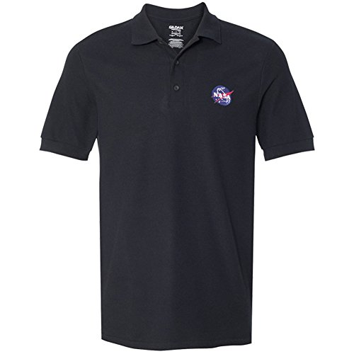 Gildan Embroidered Polo Shirt (Men's NASA Insignia Embroidered Premium 100% Cotton Shirt - Black - L)