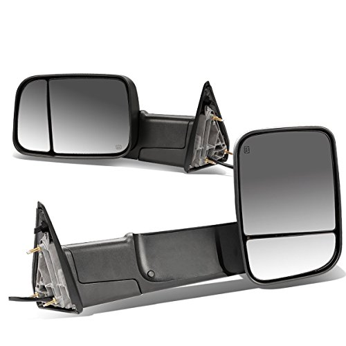 (DNA MOTORING TWM-013-T111-BK Pair of Towing Side Mirrors, Driver and Passenger Sides)