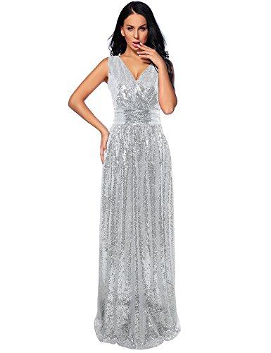 (NeeMee Women's Sequin Bridesmaid Dress Prom Banquet Evening Formal Dresses(Silver,14))