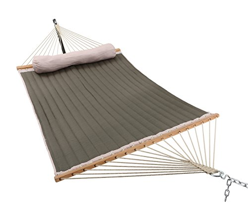 Patio Watcher 11 Feet Quilted Fabric Hammock with Pillow, Double Hammock with Bamboo Wood Spreader Bars, Perfect for Outdoor Patio Yard, Dark Green - Dimensions: Patio Watcher double quilted hammock is large enough to hold 2 person.The total length (from loop to loop) is11-feet while the bed resting area is 75 inches Long x 55 inches Wide. Two steel S-hooks and two 13-inch chains for adjust. This hammock is designed to safely support a maximum capacity of 440 pounds. Stable and Comfort: The double-layered quilted polyester with inner cotton padding and a polyethylene stuffing head pillow offer superior comfort. 55 inches durable bamboo wood spreader bar with powder coated in an oil rubbed finish protects from rot, mold or mildew, making it more stable and maximizing style. Easy to Use: Comes with a high quality quilted fabric rope hammock, detachable pillow, sturdy suspension rings, two steel S-hooks and two 13-inch chains for easy setup. Just hang it between two trees with straps or on a hammock stand (NOT INCLUDED). - patio-furniture, patio, hammocks - 41mso%2Bw8yYL -