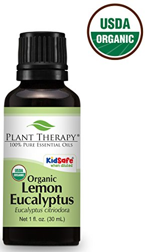 Plant Therapy USDA Certified Organic Eucalyptus Lemon Essential Oil. 100% Pure, Undiluted, Therapeutic Grade. 30 ml (1 oz).
