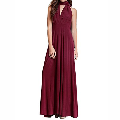 Women's Convertible Multi Way Transformer/Wrap Infinity Solid Cocktail Evening Gown Homecoming Long Dress Burgundy XS -