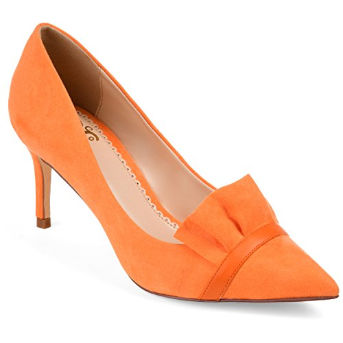 Journee Collection Womens Ruffle Pointed Toe Skinny Heels Orange, 7 Regular US