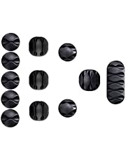 12 Pieces Black&White Cable Clips, Reayouth Strong 3M Adhesive Desk Wire Management Cable Organizer Wire Holder, Multipurpose Cord Clamps for Cell Phone Chargers