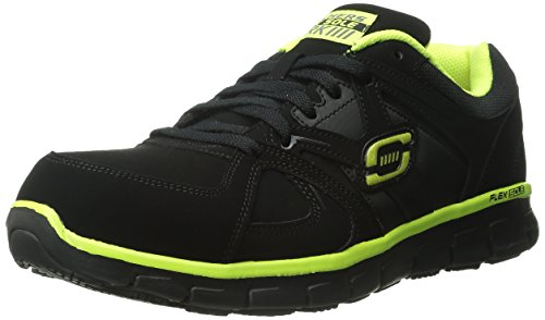 Skechers for Work Men's Synergy Ekron Walking Shoe,Black/Lime,12 M US ()