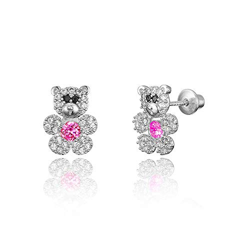 925 Sterling Silver Rhodium Plated Teddy Bear Cubic Zirconia Screwback Baby Girls Earrings