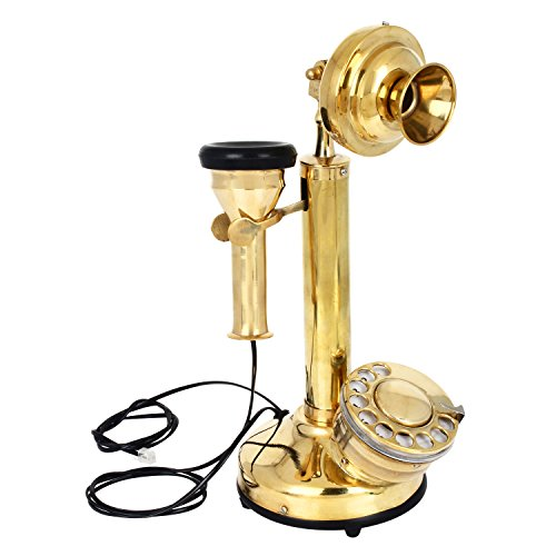 Artshai Vintage decorative Candlestick telephone with rotary dial made from Brass