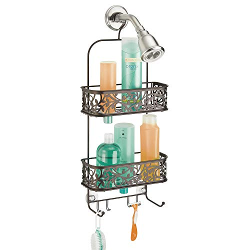 "InterDesign Vine Metal Wire Hanging Shower Caddy, Extra Wide Space for Shampoo, Conditioner, and Soap with Hooks for Razors, Towels, and More, 10.5"" x 4.5"" x 25"", Bronze"