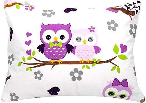Toddler Pillowcase 13x18 by Comfy Turtles, 100% Cotton (Mauve Owls)