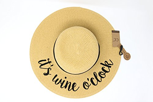 ST-2017 HATSANDSCARF CC Exclusives Straw Embroidered Lettering Floppy Brim Sun Hat