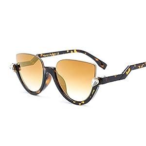 Jeweled Sunglasses Semi Cateye for Women Plastic Half Rimmed Frame Clear Mirror (Brown, 55)