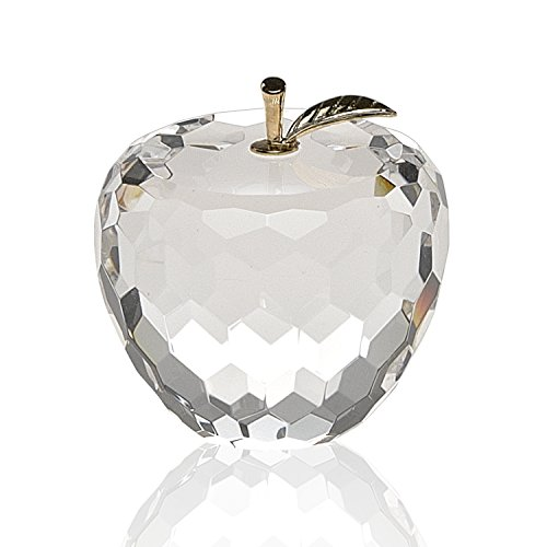 - Badash SU350 Crystal Apple Paperweight with Gold Color Stem