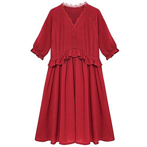 MiGMV?Robe de Mousseline Robes, Les vtements pour Dames,  l't 2018 Nouveau temprament, Une Jupe en Dentelle col V, Jupe de Longueur Moyenne lache,S,Claret