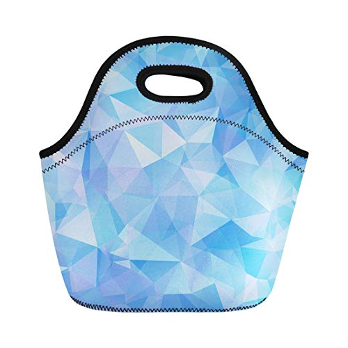 (Semtomn Neoprene Lunch Tote Bag Blue Crystal Geometric Pattern Triangles Hologram Mosaic Diamond Origami Reusable Cooler Bags Insulated Thermal Picnic Handbag for Travel,School,Outdoors,Work)