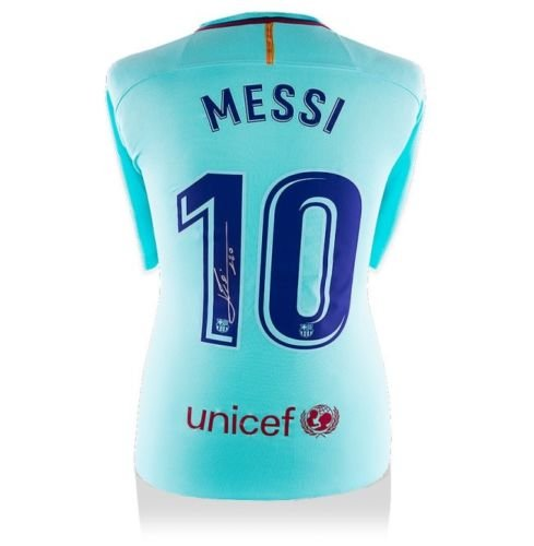 LIONEL LEO MESSI Autographed 2017-18 FC Barcelona Away Shirt Jersey ICONS by Game Day Legends