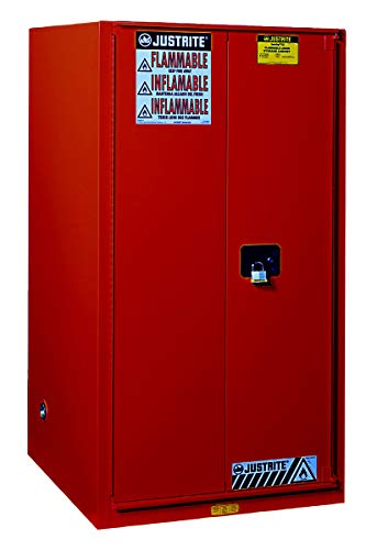 """JUSTRITE MANUFACTURING 896011 Red 18 Gauge CR Steel Sure-Grip EX Combustibles Safety Cabinet for Paint and Ink, 2 Manual-Close Door, 96 gal Capacity, 34"""" W x 65"""" H x 34"""" D, 5 Shelves"""