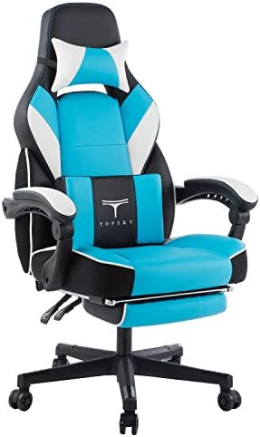 TOPSKY High Back Racing Style PU Leather Executive Computer Gaming Office Chair Ergonomic Reclining Design with Lumbar Cushion Footrest and Headrest New Black Blue