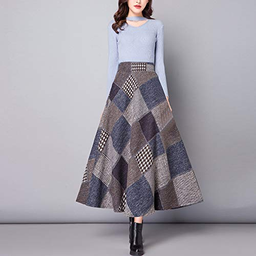 Svasata Winter Lana Lady In Con Lattice Blue Donna Maxi Gonna Niais rosso wYZq1pE