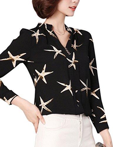 Blouse En Fashion Tops Yiwa Starfish shirt Mousseline Noir Impression Femmes T Casual Manches Longues Soie De Élégant HzxXxqw