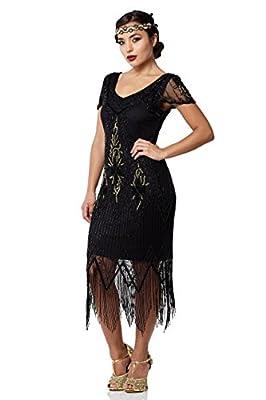 Annette Vintage Inspired Fringe Flapper Dress in Black Gold