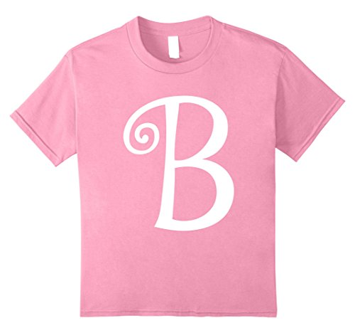 Fancy Dress Letter B (Kids Cute Letter B for Brittany Costume T-shirt 8 Pink)