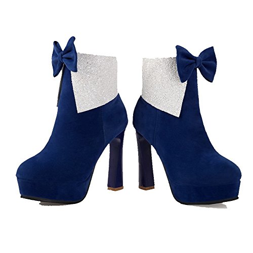 Closed Zipper Toe Boots Heels Women's high Blue High AmoonyFashion Ankle Solid Round xwqHICXF