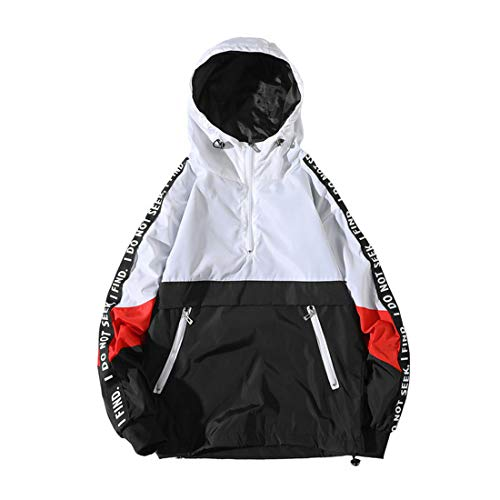 ONTTNO Men's Fashion Lightweight Hoodie Zip-up Letter Windbreaker Jacket (X-Large, White)